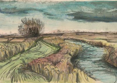 The Broads, Norfolk - walk 2 #21 - mixed media drawing