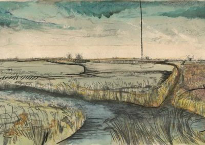 The Broads, Norfolk - walk 2 #22 - mixed media drawing