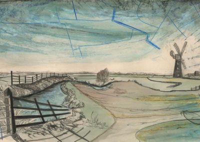 The Broads, Norfolk - walk 2 #25 - mixed media drawing