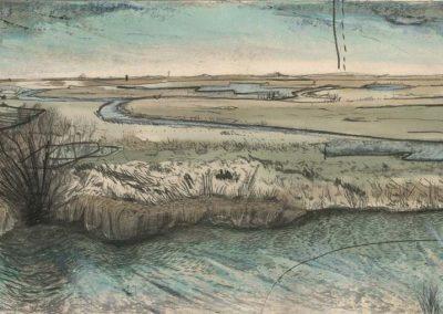 The Broads, Norfolk - walk 2 #28 - mixed media drawing