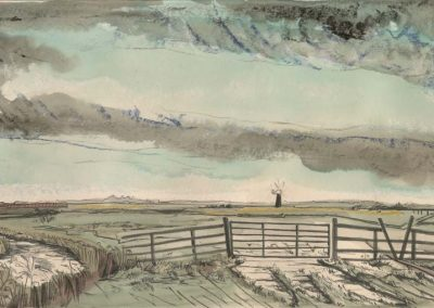 The Broads, Norfolk - walk 2 #30 - mixed media drawing