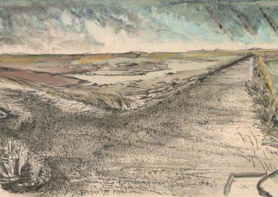 The Broads, Norfolk - walk 2 #31 - mixed media drawing