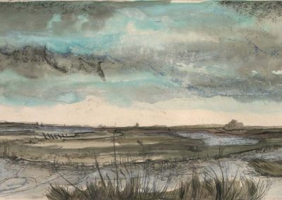 The Broads, Norfolk - walk 2 #32 - mixed media drawing