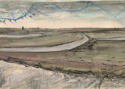 The Broads, Norfolk - walk 2 #33 - mixed media drawing