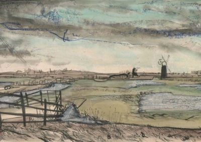 The Broads, Norfolk - walk 2 #34 - mixed media drawing