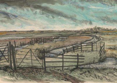 The Broads, Norfolk - walk 2 #35 - mixed media drawing