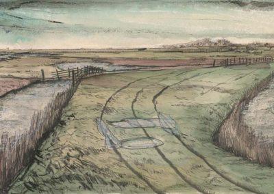The Broads, Norfolk - walk 2 #36 - mixed media drawing