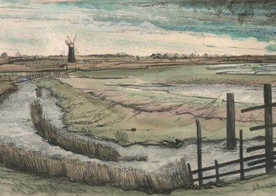 The Broads, Norfolk - walk 2 #37 - mixed media drawing