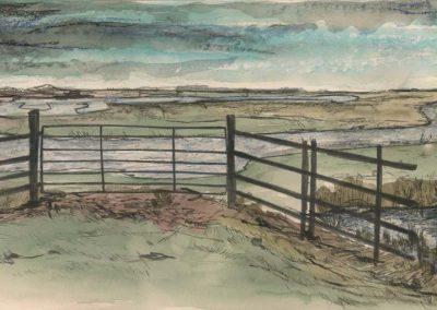 The Broads, Norfolk - walk 2 #38 - mixed media drawing