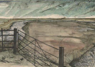 The Broads, Norfolk - walk 2 #39 - mixed media drawing