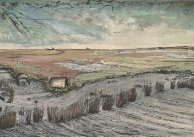 The Broads, Norfolk - walk 2 #41 - mixed media drawing
