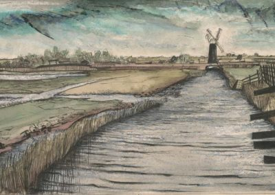 The Broads, Norfolk - walk 2 #42 - mixed media drawing