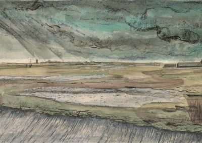 The Broads, Norfolk - walk 2 #45 - mixed media drawing
