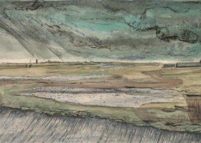 The Broads, Norfolk - walk 2 #45 - mixed media drawing