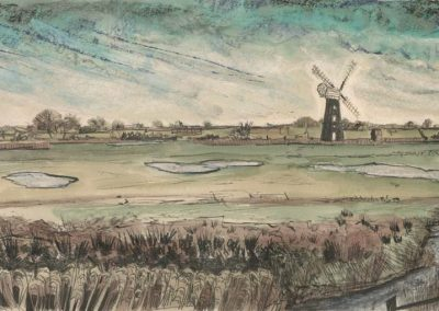 The Broads, Norfolk - walk 2 #46 - mixed media drawing
