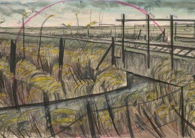 The Broads, Norfolk - walk 2 #49 - mixed media drawing