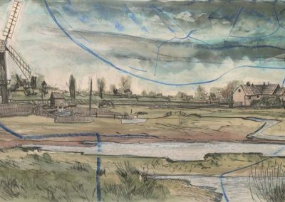 The Broads, Norfolk - walk 2 #51 - mixed media drawing