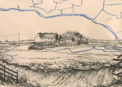 The Broads, Norfolk - walk 2 #53 - mixed media drawing