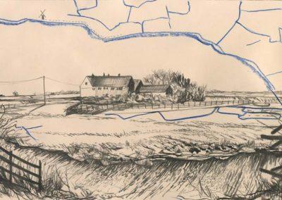 The Broads, Norfolk - walk 2 #53 - mixed media drawing