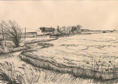 The Broads, Norfolk - walk 2 #54 - mixed media drawing