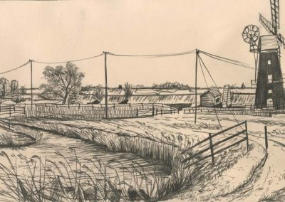 The Broads, Norfolk - walk 2 #57 - mixed media drawing