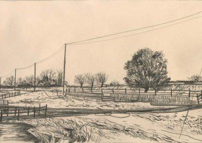 The Broads, Norfolk - walk 2 #58 - mixed media drawing