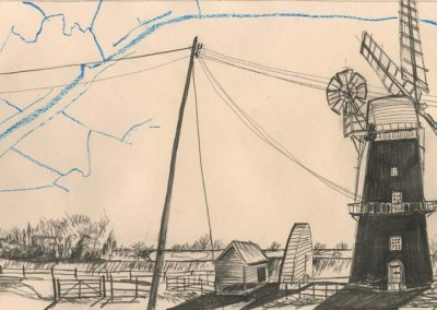 The Broads, Norfolk - walk 2 #59 - mixed media drawing