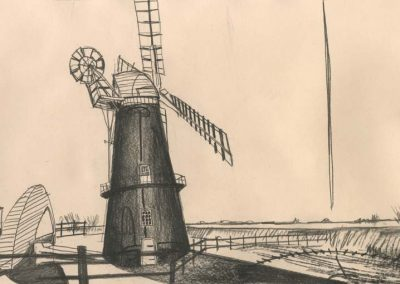 The Broads, Norfolk - walk 2 #61 - mixed media drawing