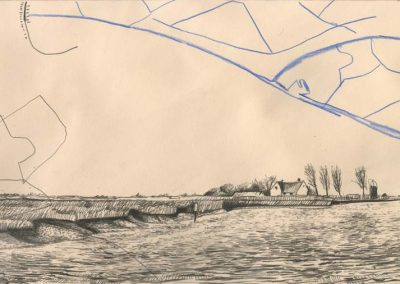 The Broads, Norfolk - walk 2 #70 - mixed media drawing