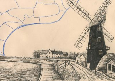 The Broads, Norfolk - walk 2 #71 - mixed media drawing