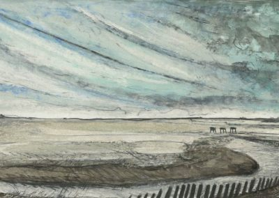 The Broads, Norfolk - walk 3 #03 - mixed media drawing