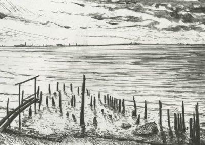The Broads, Norfolk - walk 3 #17 - mixed media drawing