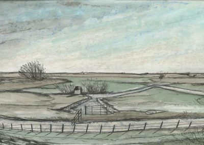The Broads, Norfolk - walk 3 #20 - mixed media drawing