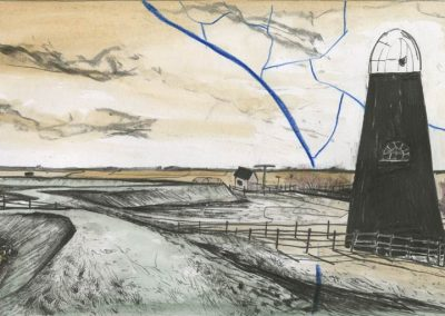 The Broads, Norfolk - walk 3 #22 - mixed media drawing