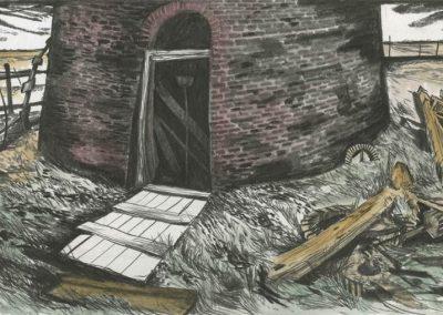 The Broads, Norfolk - walk 3 #25 - mixed media drawing