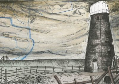 The Broads, Norfolk - walk 3 #28 - mixed media drawing