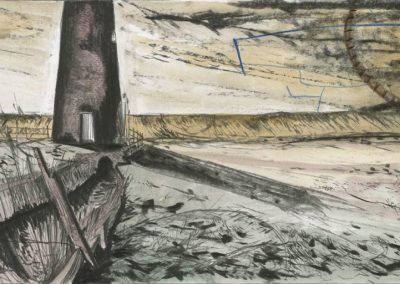 The Broads, Norfolk - walk 3 #29 - mixed media drawing