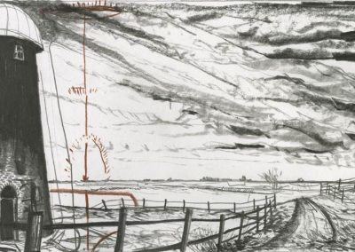 The Broads, Norfolk - walk 3 #30 - mixed media drawing