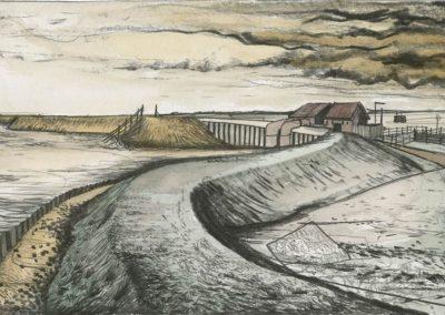 The Broads, Norfolk - walk 3 #33 - mixed media drawing