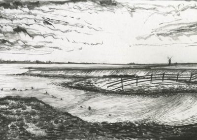 The Broads, Norfolk - walk 3 #35 - mixed media drawing