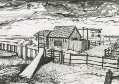 The Broads, Norfolk - walk 3 #36 - mixed media drawing