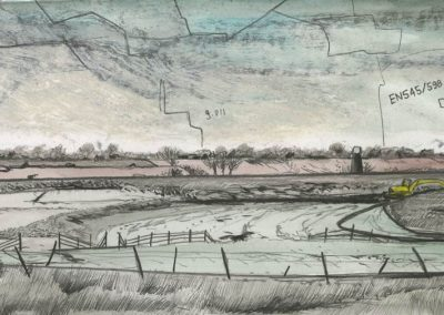The Broads, Norfolk - walk 3 #38 - mixed media drawing