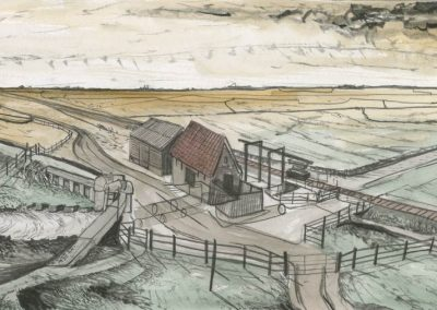 The Broads, Norfolk - walk 3 #39 - mixed media drawing