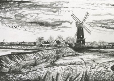 The Broads, Norfolk - walk 3 #41 - mixed media drawing
