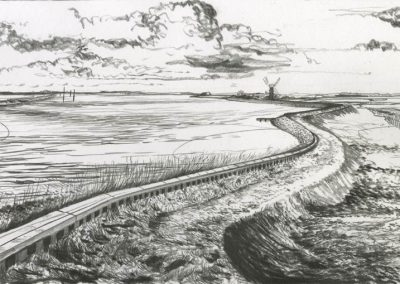 The Broads, Norfolk - walk 3 #42 - mixed media drawing