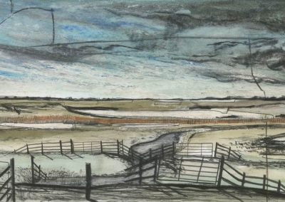 The Broads, Norfolk - walk 3 #45 - mixed media drawing