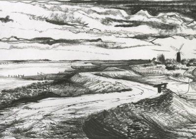 The Broads, Norfolk - walk 3 #47 - mixed media drawing