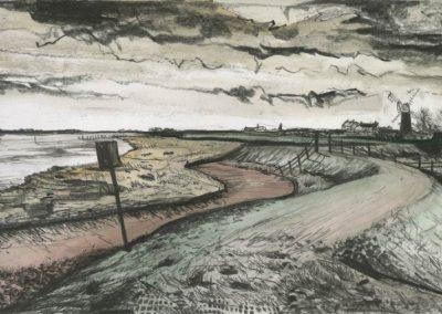 The Broads, Norfolk - walk 3 #48 - mixed media drawing