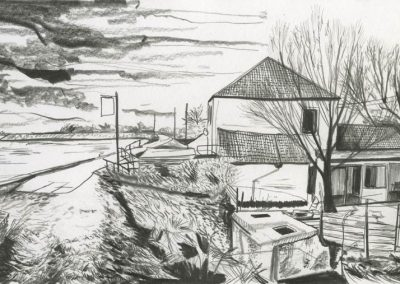 The Broads, Norfolk - walk 3 #51 - mixed media drawing