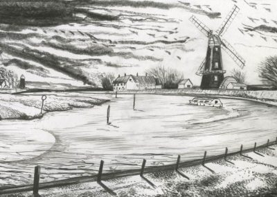 The Broads, Norfolk - walk 3 #52 - mixed media drawing